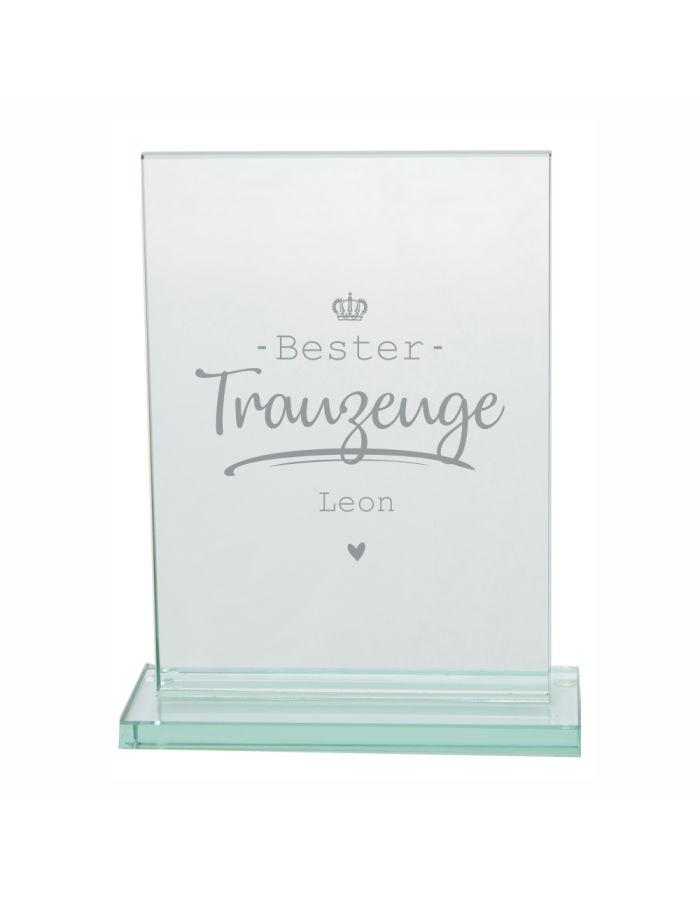 "Personalisierter Glaspokal ""Bester Trauzeuge"" (Krone-Motiv)"