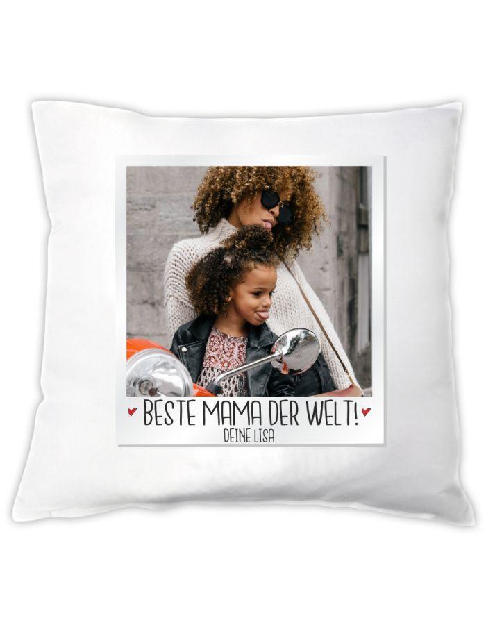 """Personalisiertes Kissen """"Polaroid: Beste Mama der Welt"""""""