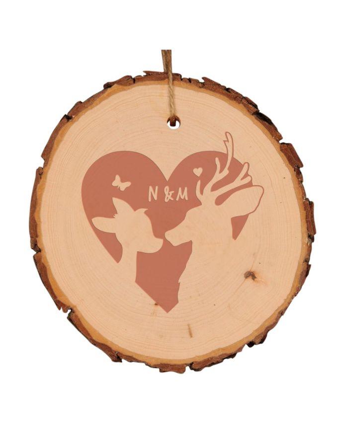 """Baumscheibe """"Rehe"""" mit Herz - personalisiert (verschiedene Größen)"""
