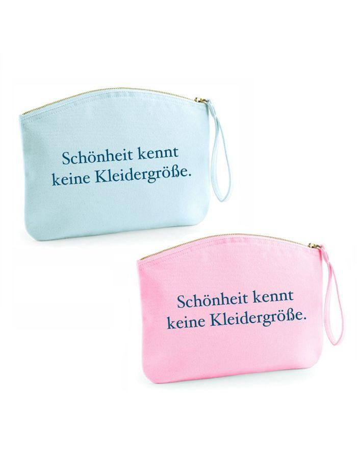 """Kulturtasche """"Schönheit kennt keine Kleidergröße"""" (Farbe: rosa oder hellblau)"""