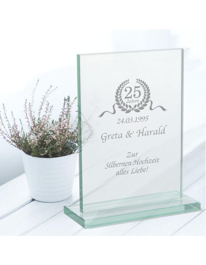 """Personalisierter Glaspokal """"Zur Silbernen Hochzeit"""""""