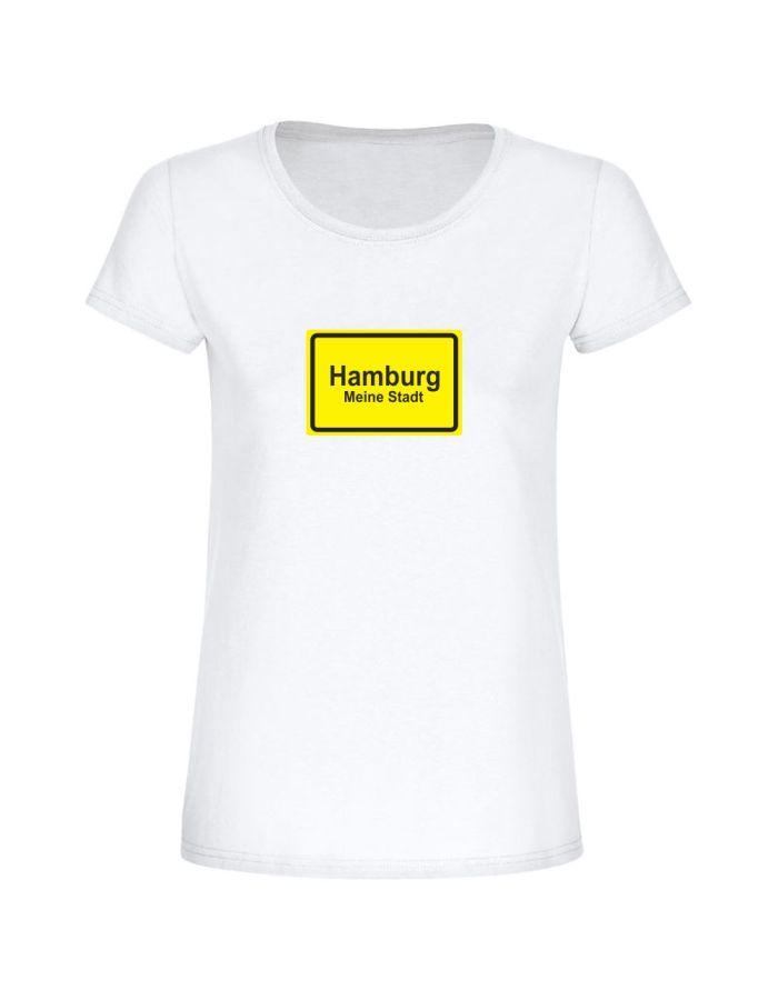 "T-Shirt ""Ortsschild Hamburg""- Damen"