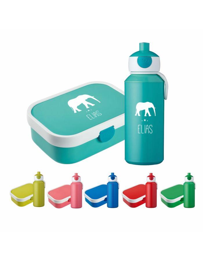 "Set ""Elefant Silhouette"" - Brotdose & Trinkflasche - personalisiert"