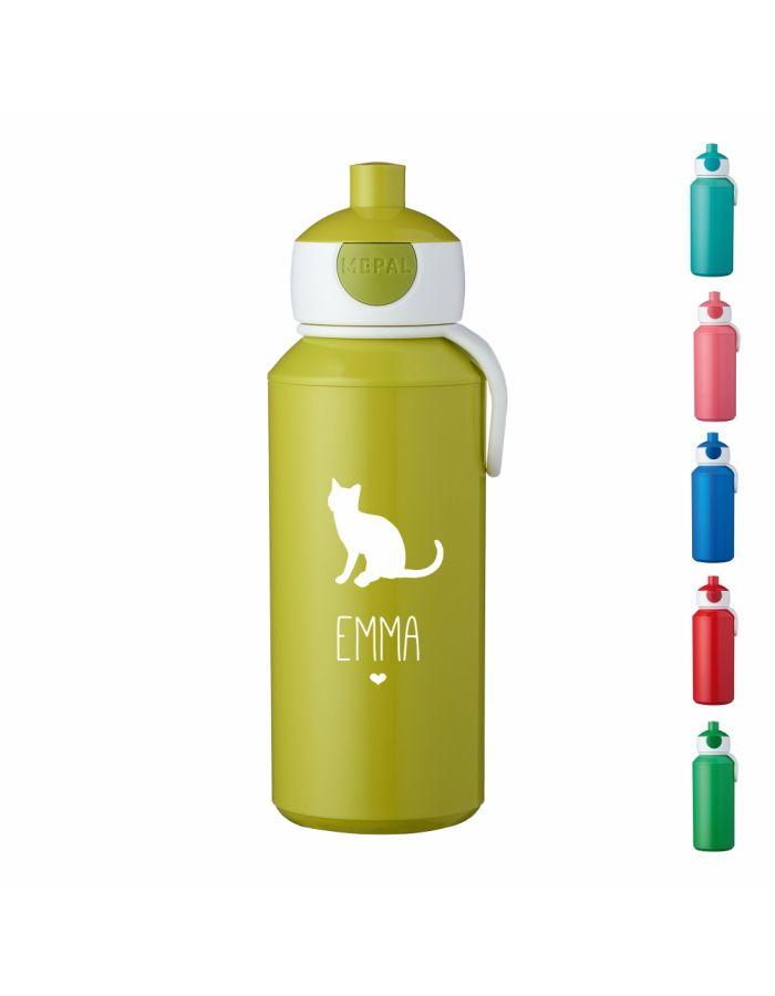 """Trinkflasche """"Katze Silhouette"""" - personalisiert"""