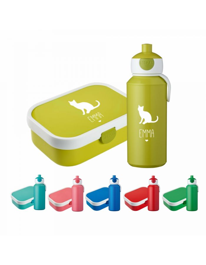 "Set ""Katze Silhouette"" - Brotdose & Trinkflasche - personalisiert"