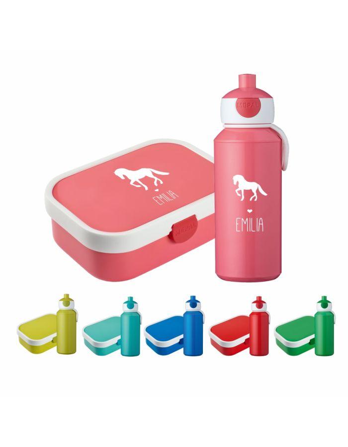 """Set """"Pferd Silhouette"""" - Brotdose & Trinkflasche - personalisiert"""