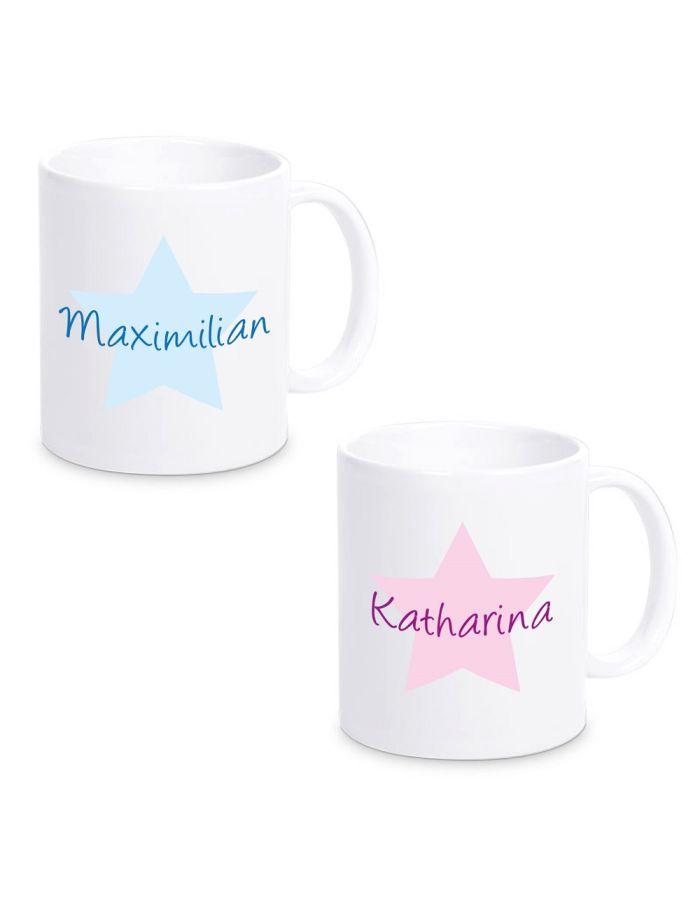 """Tasse """"Stern"""" - personalisiert (Design: pink oder blau)"""
