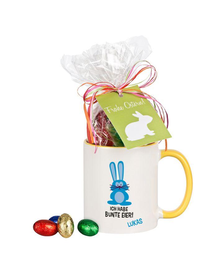 """Tasse """"Ich habe bunte Eier!"""" mit Schokolade - personalisiert"""