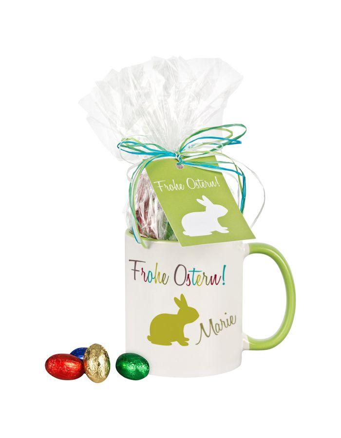 """Tasse """"Frohe Ostern!"""" mit Schokolade - personalisiert"""