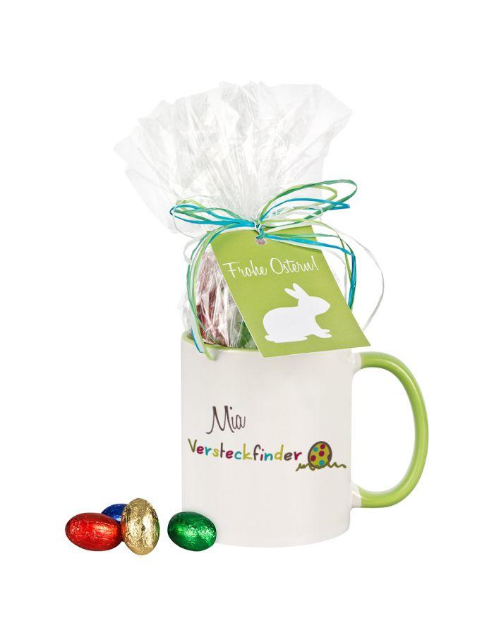 """Tasse """"Versteckfinder"""" mit Schokolade - personalisiert"""