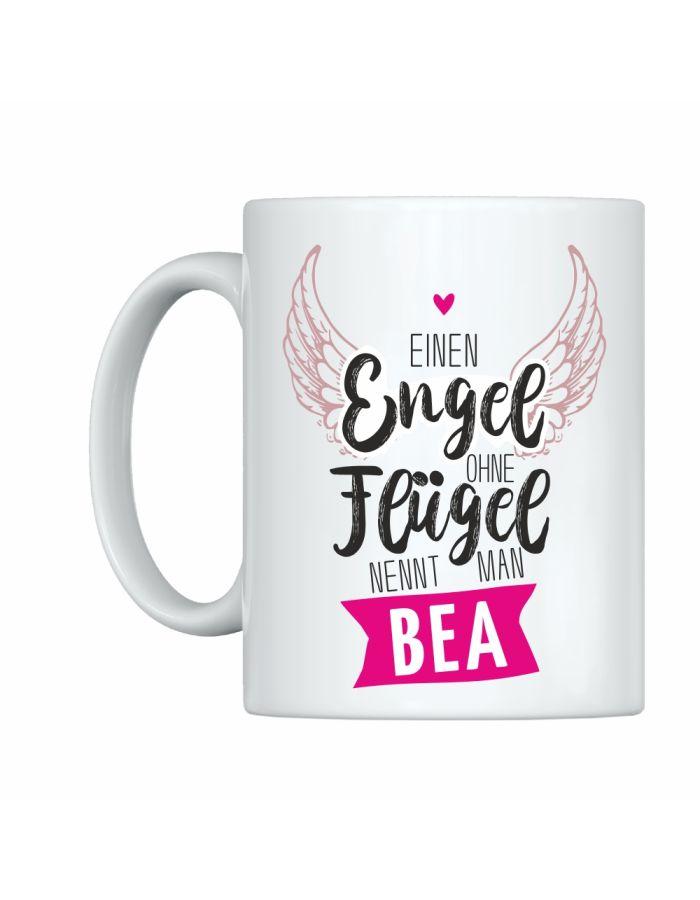 """Weiße Tasse """"Engel ohne Flügel - Danke, dass es Dich gibt"""" mit Personalisierung"""