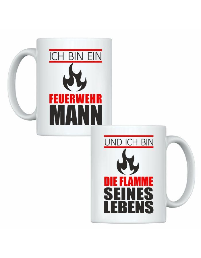 """Tassen-Set """"Ich bin ein Feuerwehrmann"""" & """"Und ich bin die Flamme seines Lebens"""""""