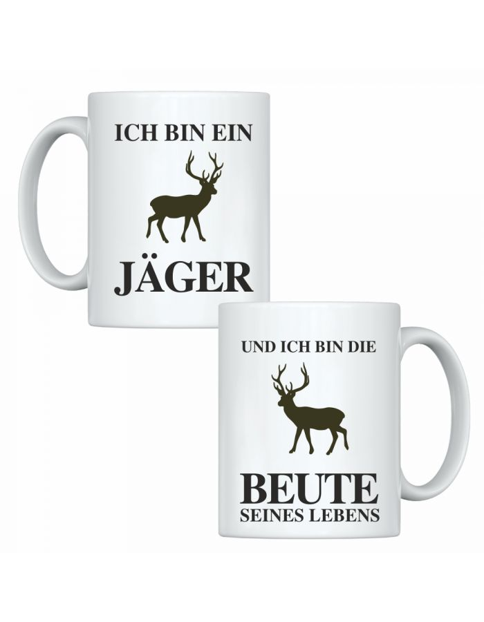 """Tassen-Set """"Ich bin ein Jäger"""" & """"Und ich bin die Beute seines Lebens"""""""