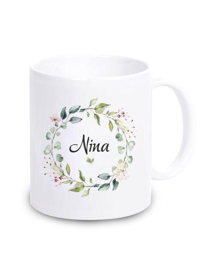 """Weiße Tasse """"Blumenkranz"""" mit Personalisierung"""