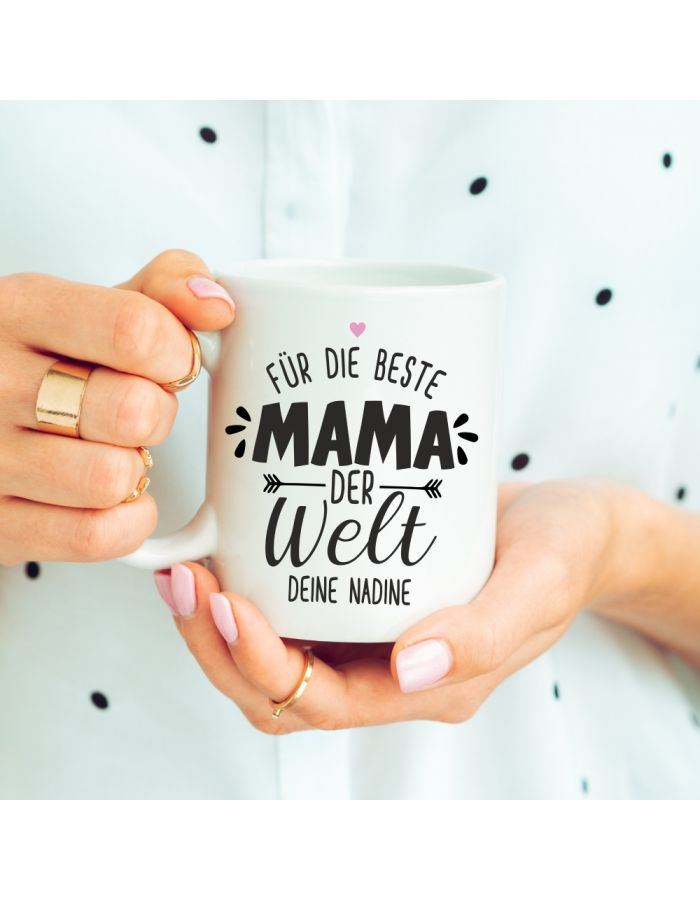 """Weiße Tasse """"Für die beste Mama der Welt"""" - personalisiert"""