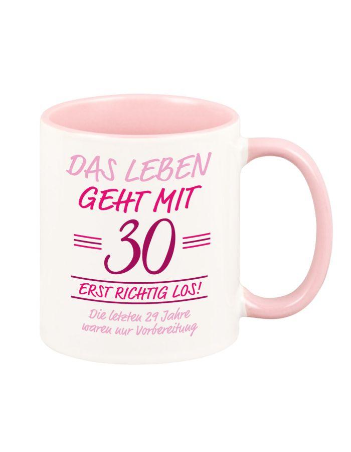 """bunte Tasse """"Das Leben geht erst richtig los"""" rosa"""