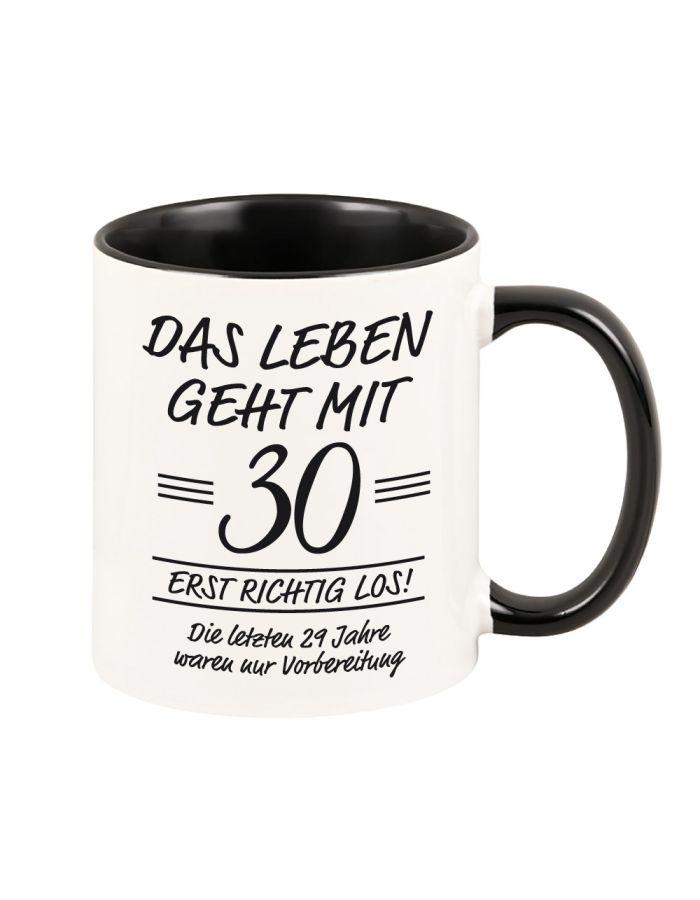 """bunte Tasse """"Das Leben geht erst richtig los"""" schwarz"""