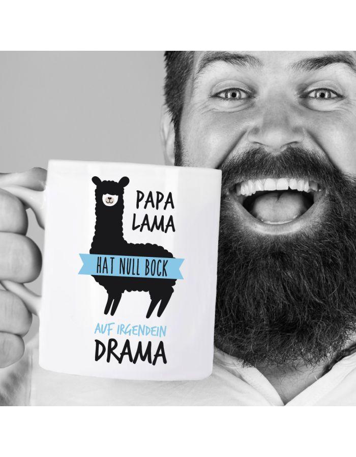 """Weiße Tasse """"Papa Lama hat null Bock auf irgendein Drama"""""""