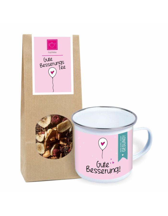 """Geschenkset """"Gute Besserung! Werde schnell wieder gesund!"""" (Metall-Tasse im Emaille-Look & Gute Besserungs Tee)"""