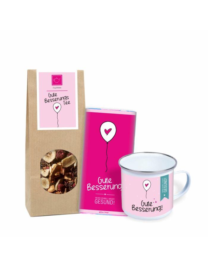 """Geschenkset """"Gute Besserung! Werde schnell wieder gesund!"""" (Metall-Tasse im Emaille-Look, Schokolade & Gute Besserungs Tee)"""