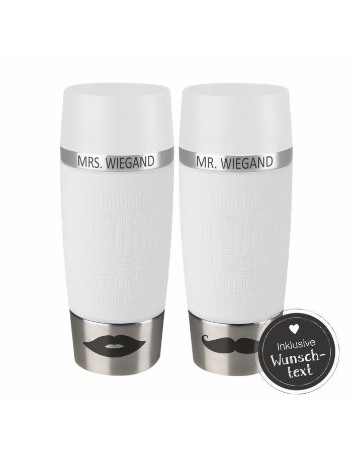 weiße Thermobecher für Paare (Set) - personalisiert