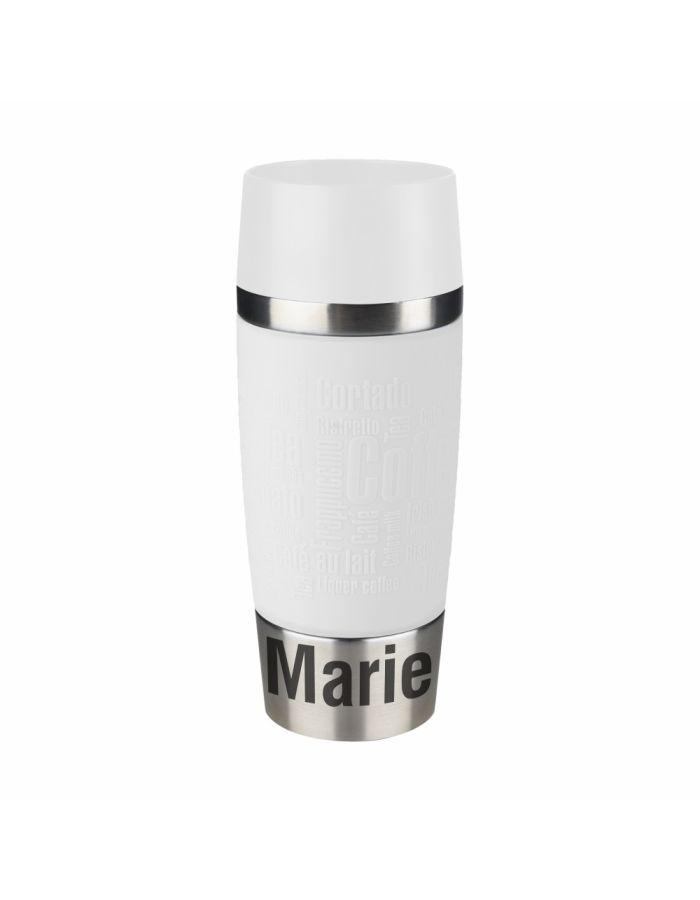 weißer Thermobecher mit Wunschgravur - personalisiert