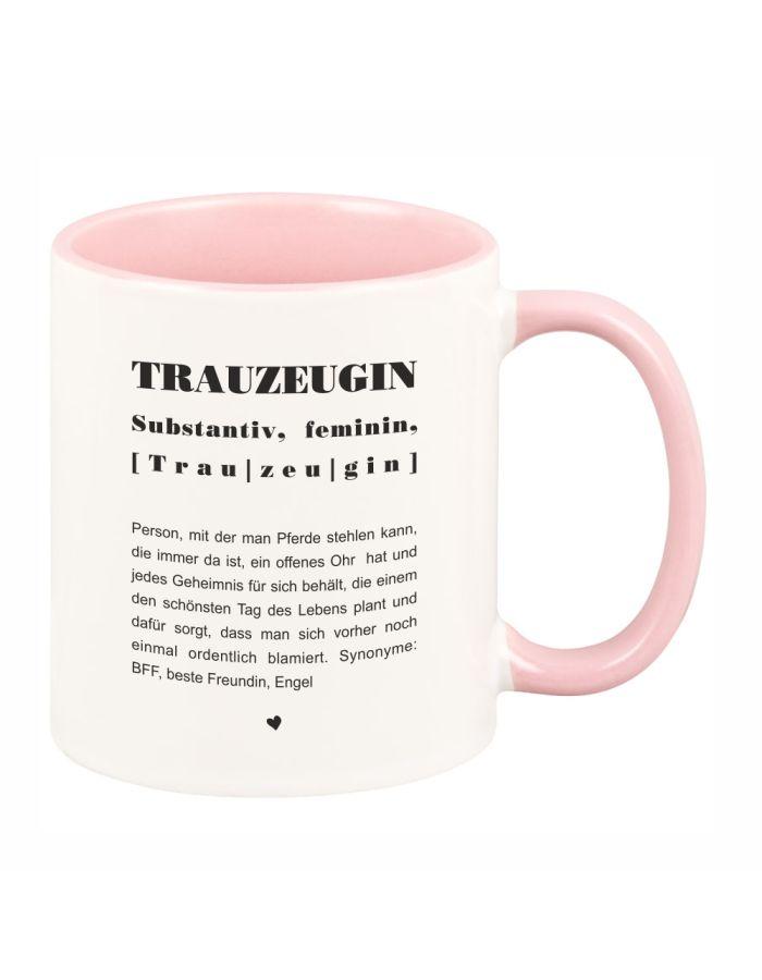 """Tasse mit rosa Henkel """"Trauzeugin, Definition"""""""