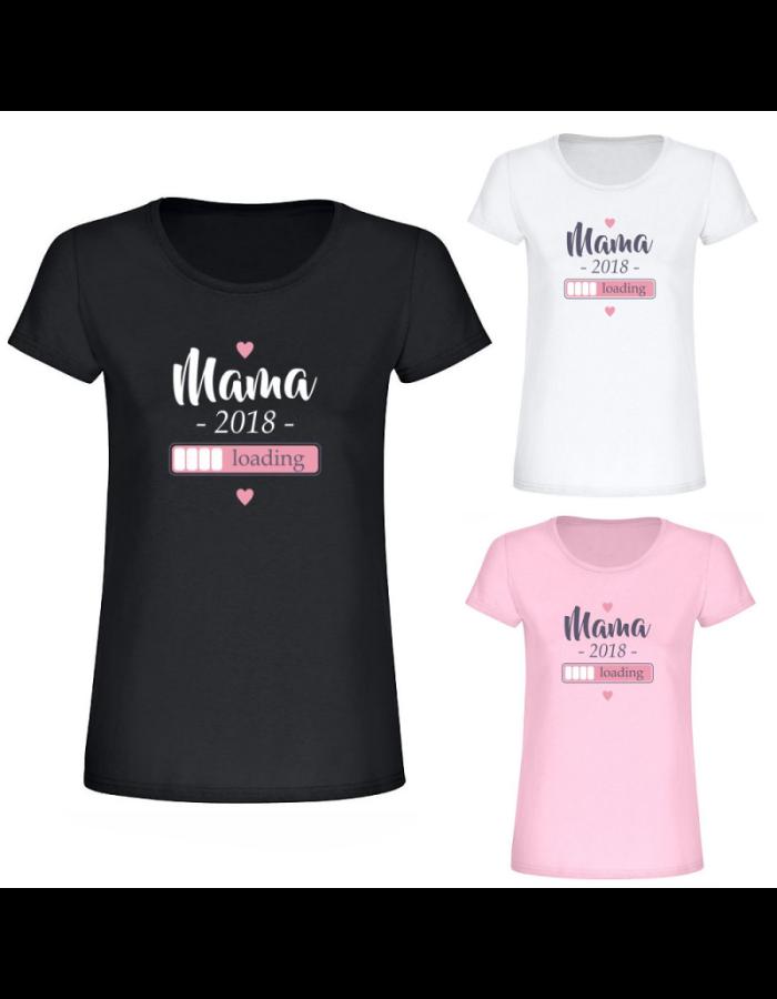 "T-Shirt ""Loading… Mama + Jahr"" - personalisiert - Damen"