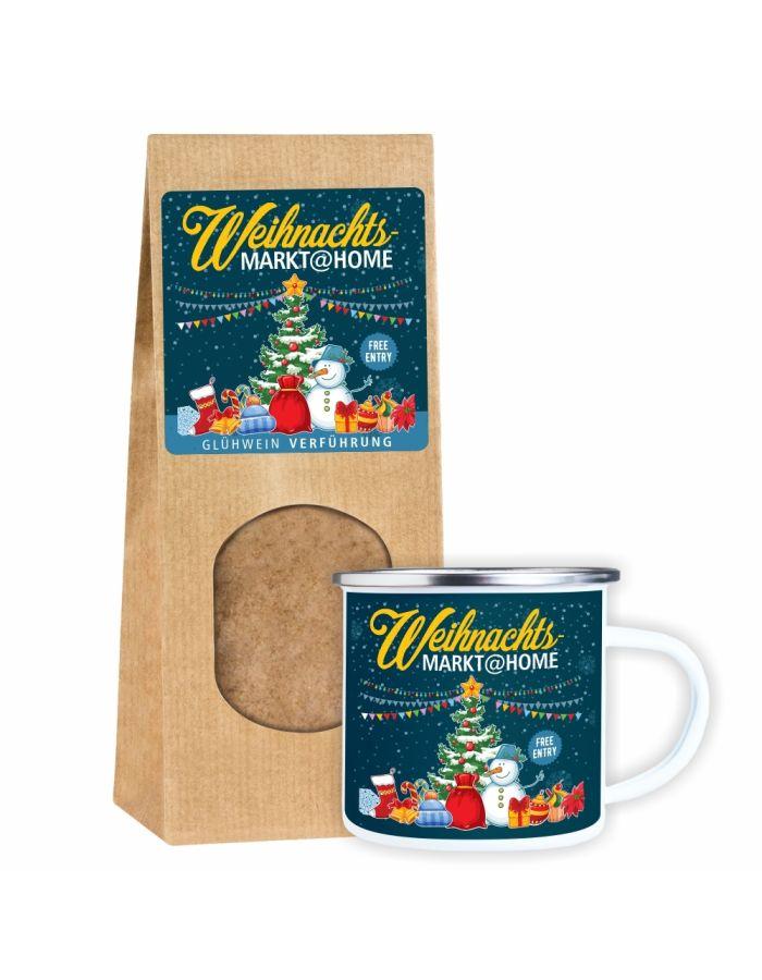 """""""Weihnachtsmarkt@Home"""" Geschenkset: Glühwein-Verführung Gewürzmischung + Metalltasse Emaille Look"""