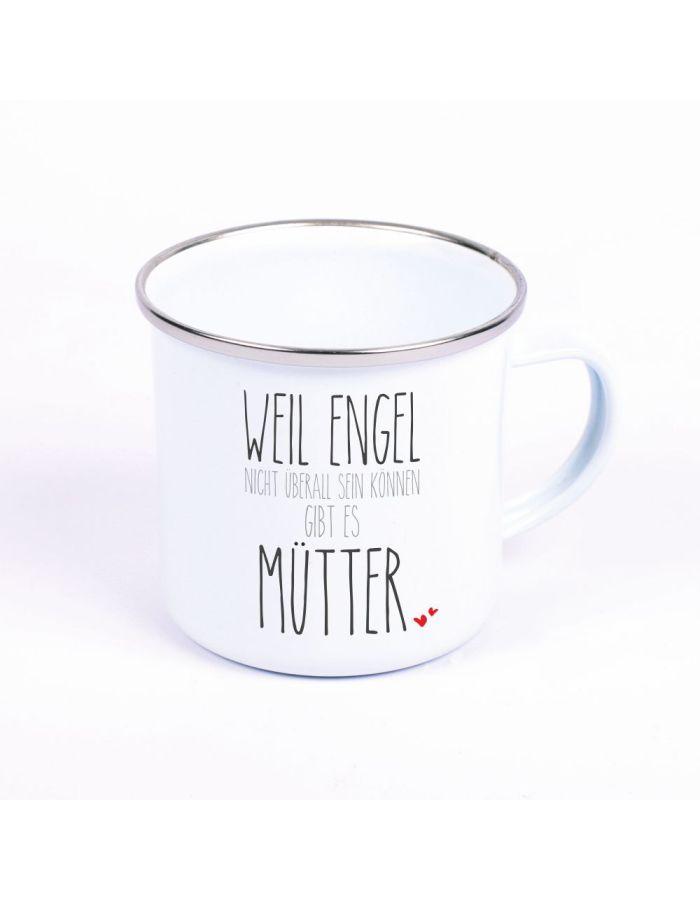 """Metalltasse Emaille Look """"Weil Engel nicht überall sein können, gibt es Mütter"""""""