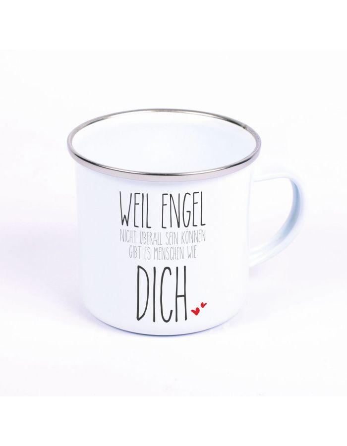 """Metalltasse Emaille Look """"Weil Engel nicht überall sein können, gibt es Menschen wie Dich"""""""