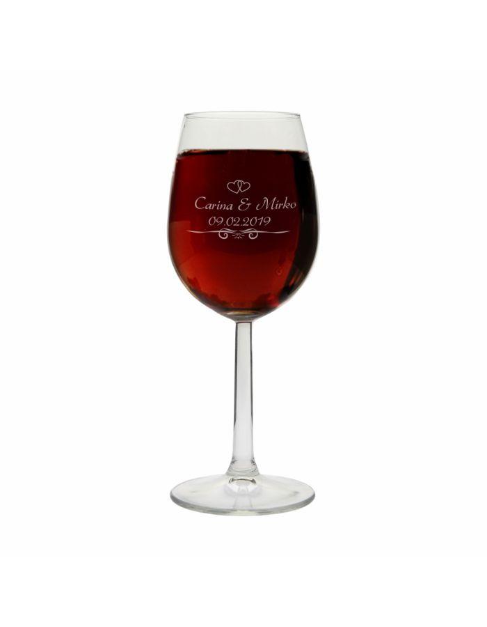 Weinglas zur Hochzeit mit/ohne Ranken - personalisiert