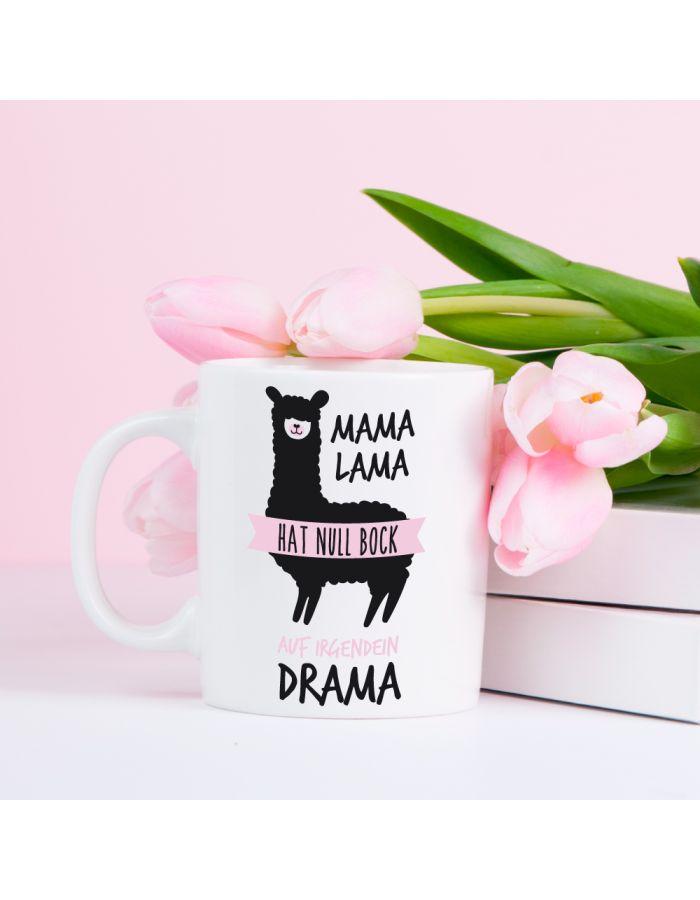 """Weiße Tasse """"Mama Lama hat null Bock auf irgendein Drama"""""""