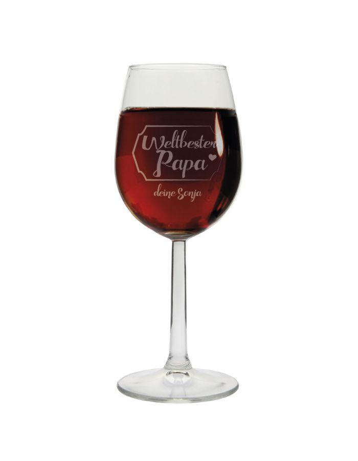 """Weinglas """"Weltbester Papa"""" mit Namen"""