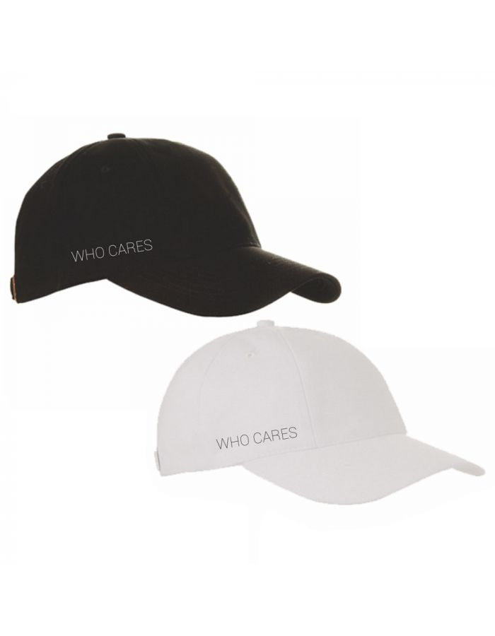 """Cap """"who cares"""" (Farbe: schwarz und weiß)"""