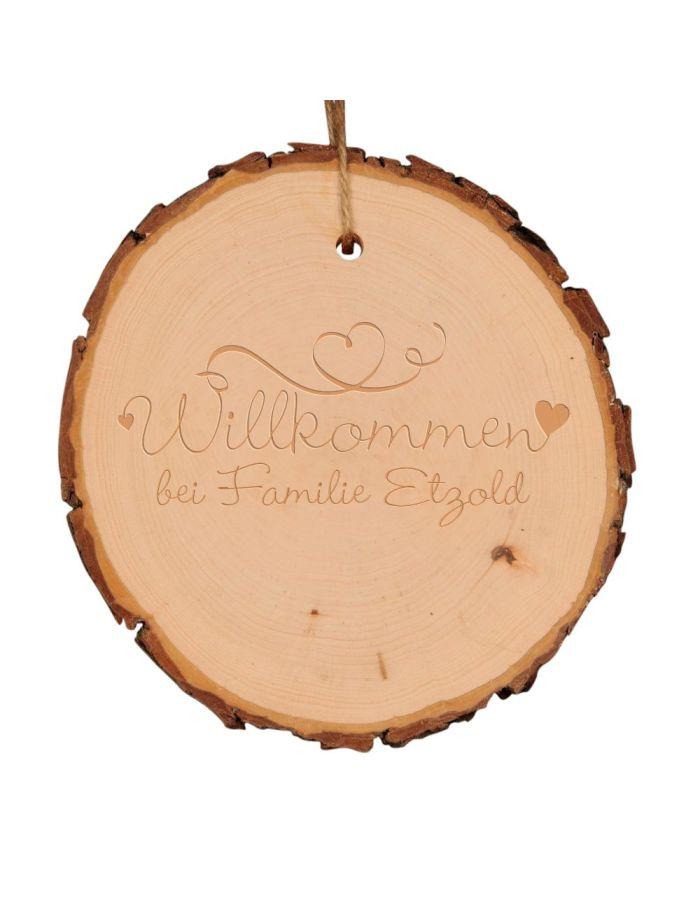 """Baumscheibe """"Willkommen bei Familie.."""" - personalisiert (verschiedene Größen)"""