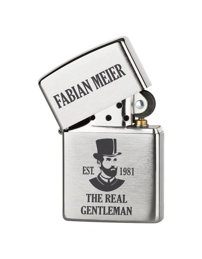 """Personalisiertes Zippo Feuerzeug """"The real Gentleman"""" - Design: Kopf"""