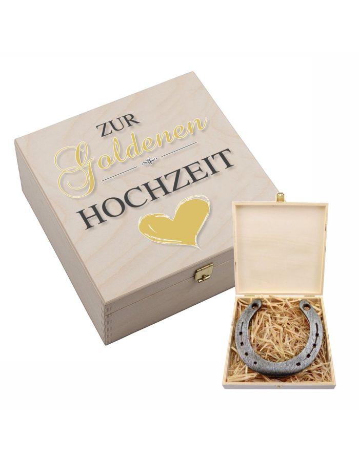 """Hufeisen-Box """"Zur Goldenen Hochzeit"""" (goldenes Herz)"""