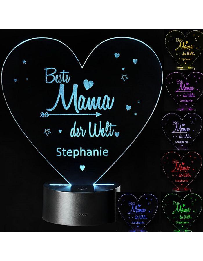 "LED Motivlampe - personalisierte 3D Leuchte ""Beste Mama der Welt"""